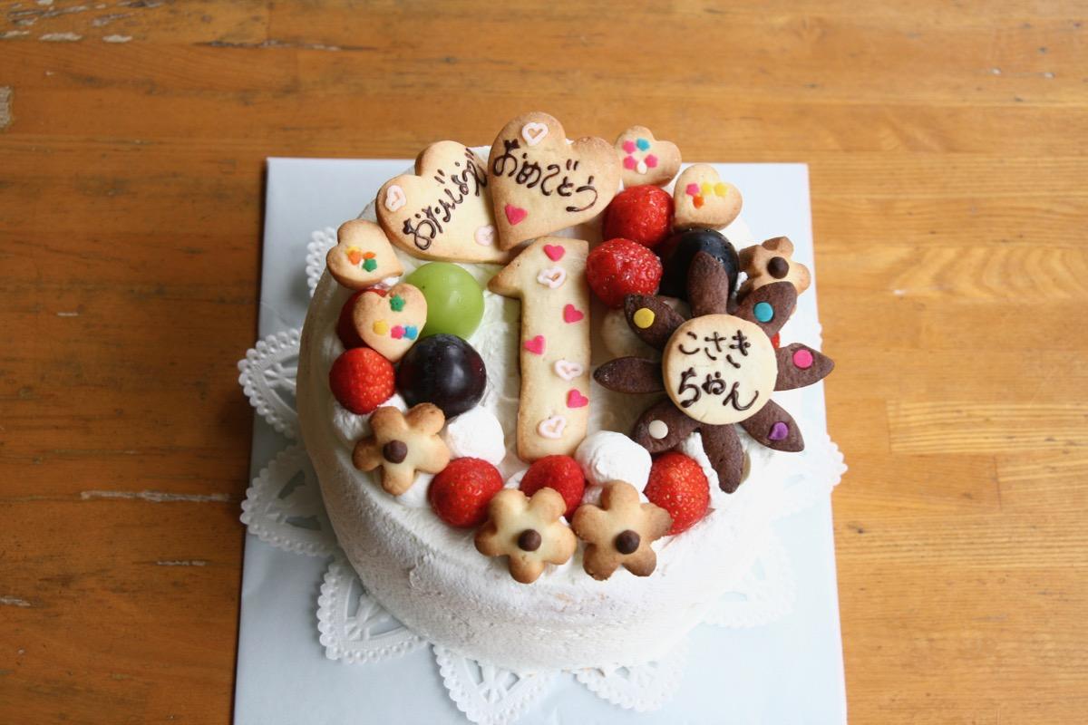 シフォンケーキのバースデーケーキ