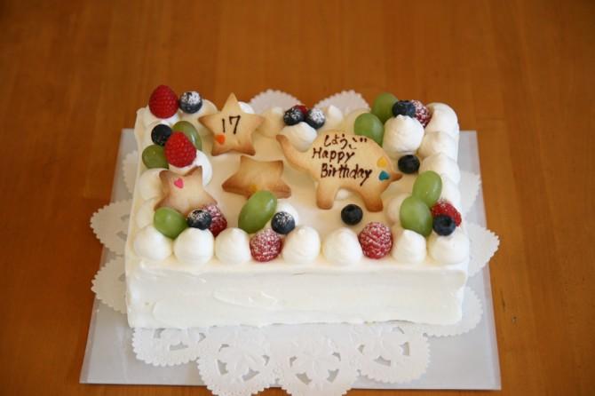 バースデーケーキ<br />シンプルなケーキ